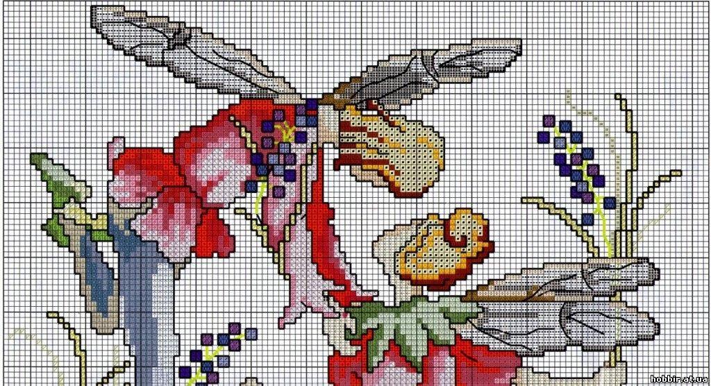 Вышивка крестом схемы розовая фея