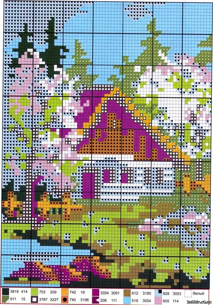 Вышивка крестом пейзажисхемы 93