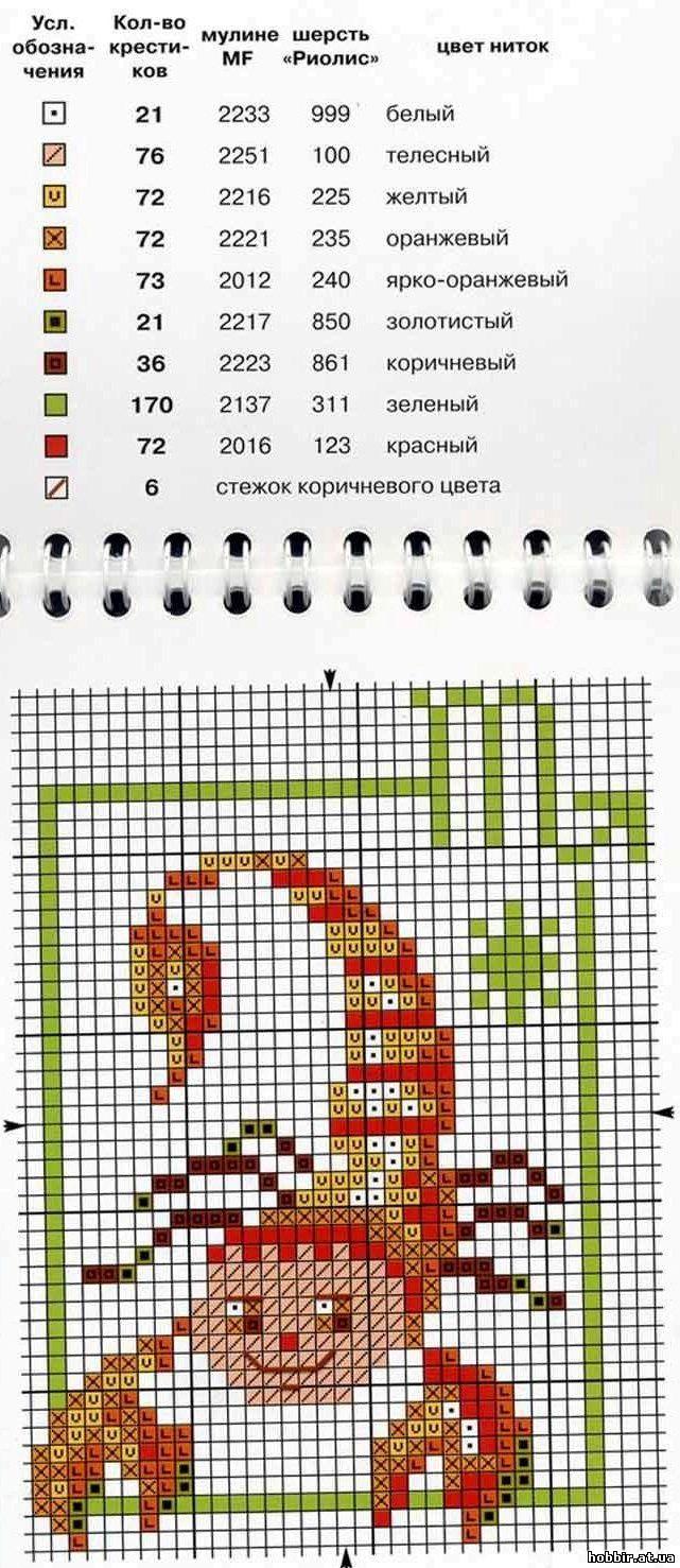Схема вышивки знака зодиака рака