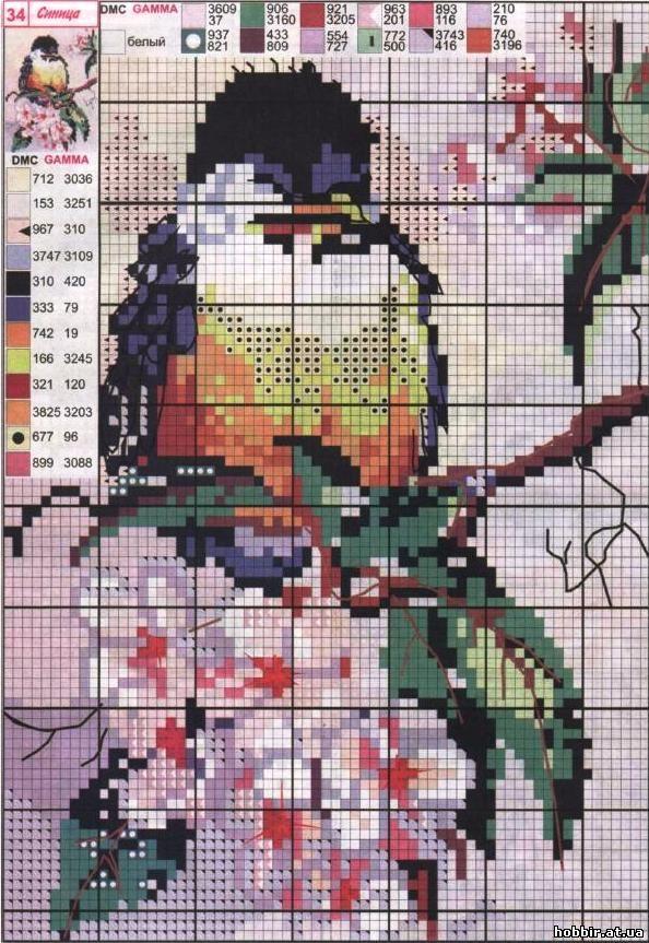Вышивка крестом птицы со схемами
