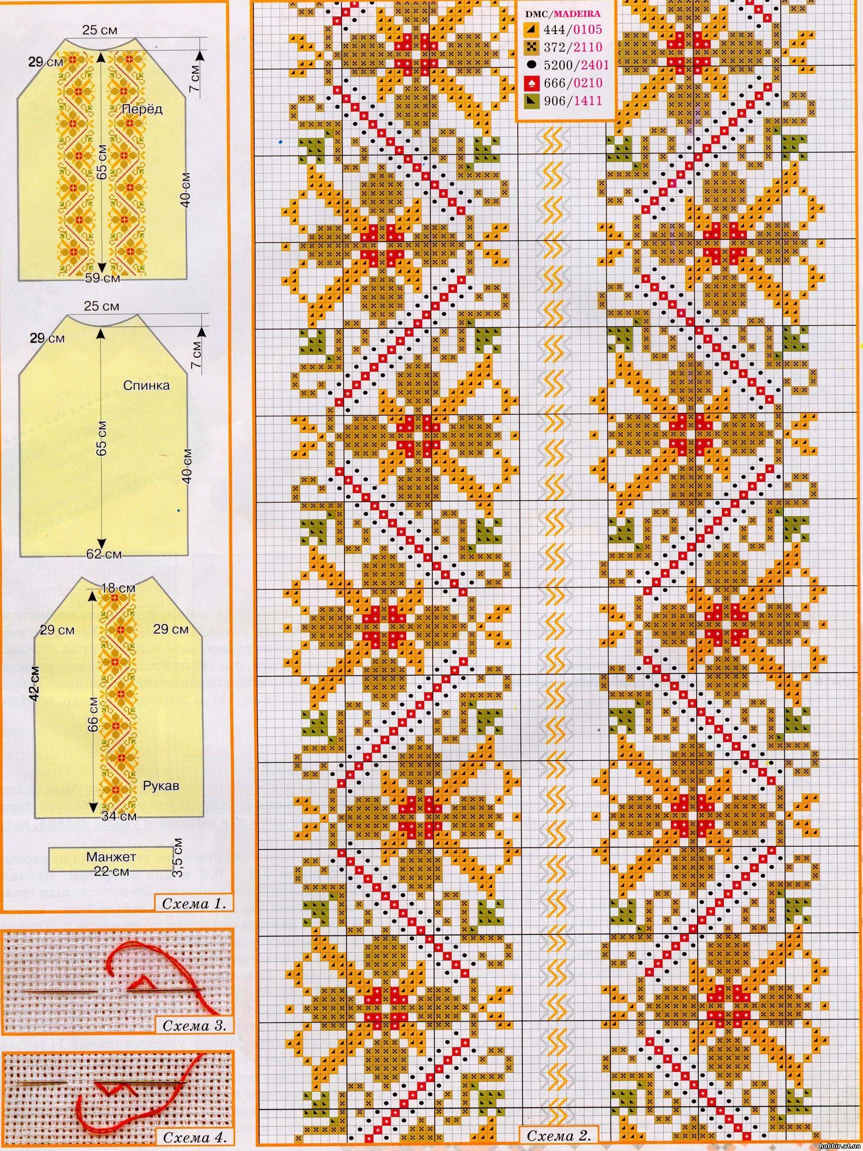 Схемы вышивки крестом блузке