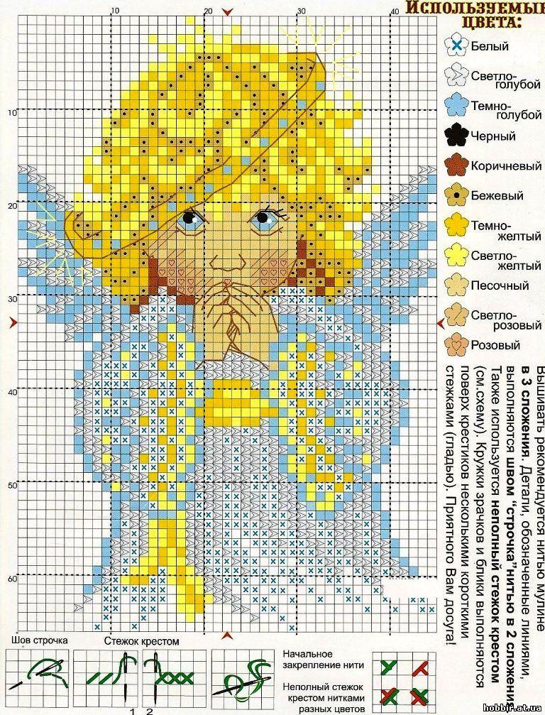 Схема вышивки крестом: ангелы скачать бесплатно Надо 88