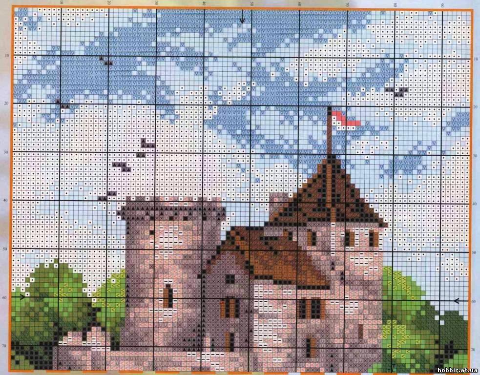 Вышивка крестом схема здания