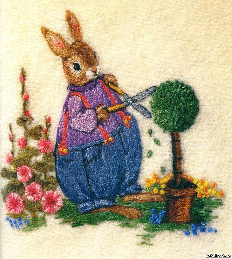 Вышивка гладью зайцы