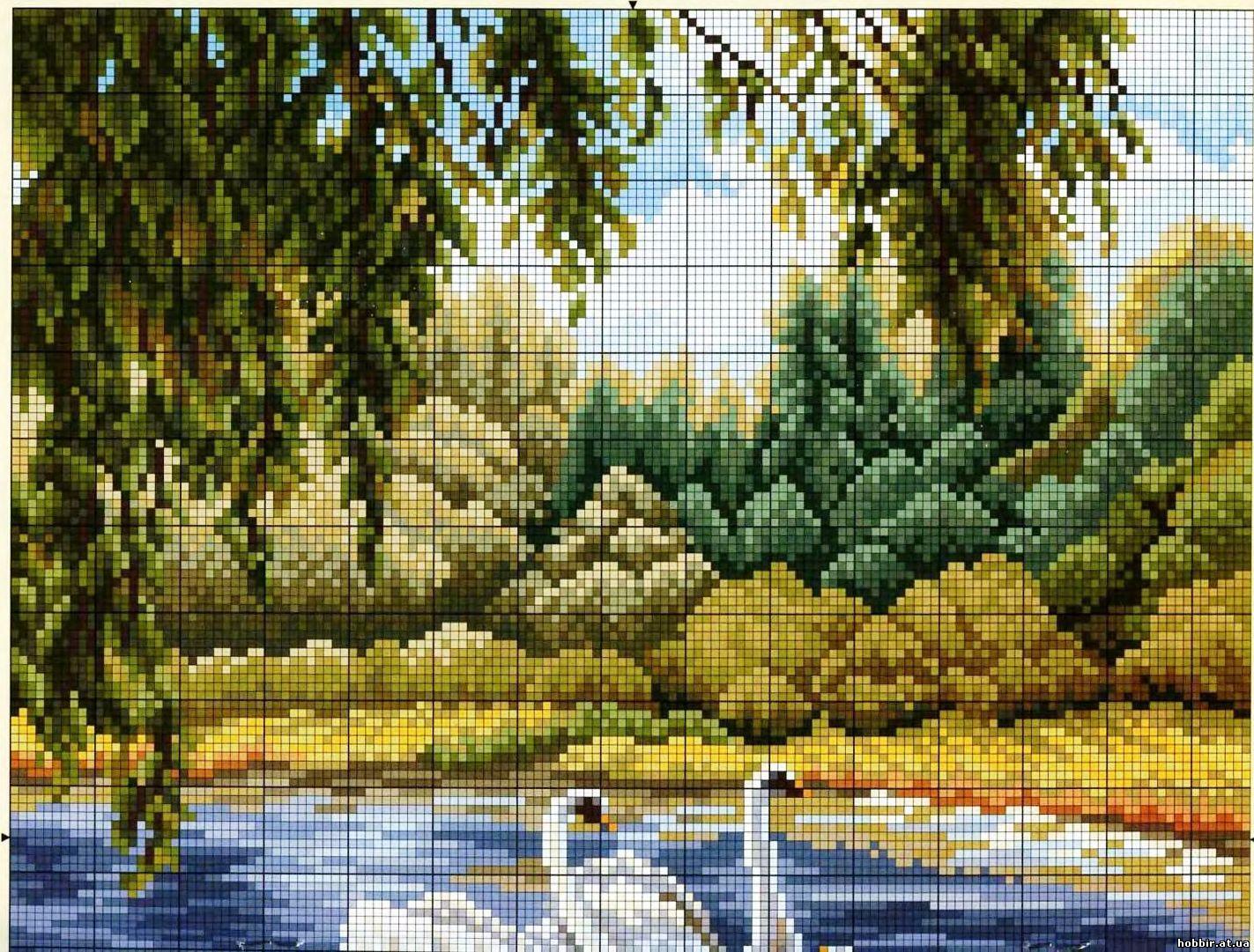 Вышивка бисером лебеди видео