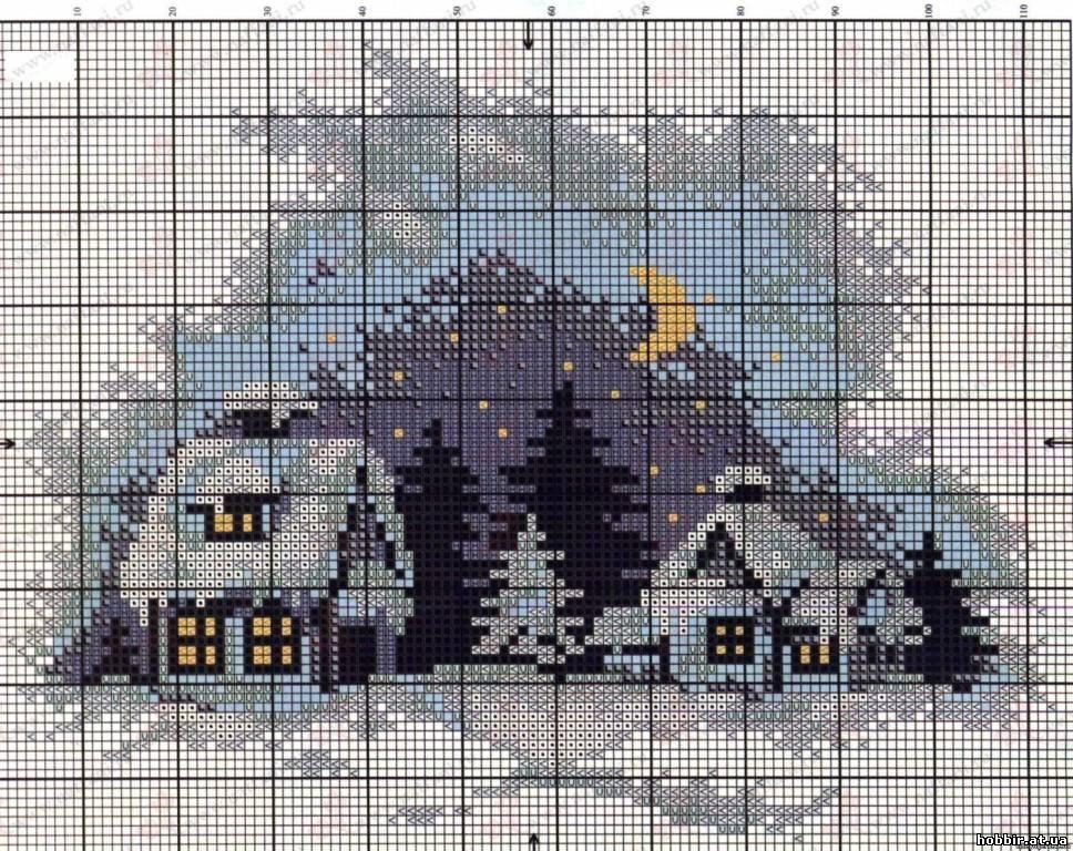 Вышивка крестом бесплатные схемы деревенский пейзаж
