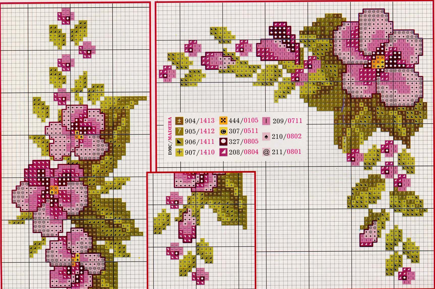 Цветы на скатерть схемы крестом