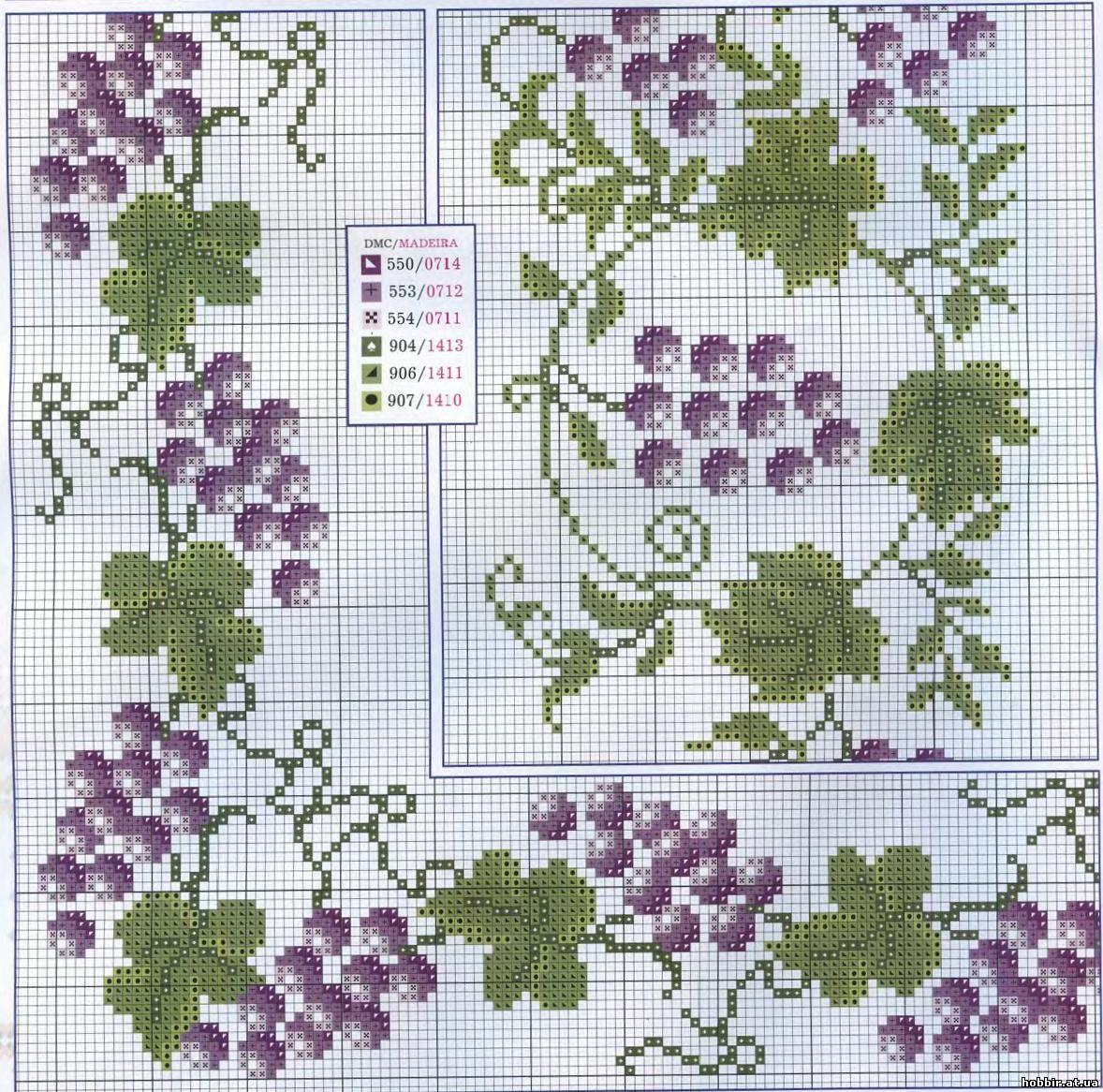 Схемы вышивки винограда крестиком 6