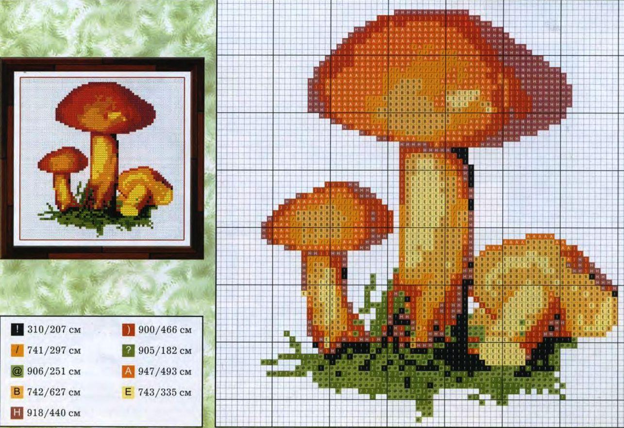 вышивка сэмплер грибной схема